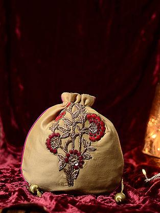 Beige-Red Hand Embroidered Cotton Silk Potli
