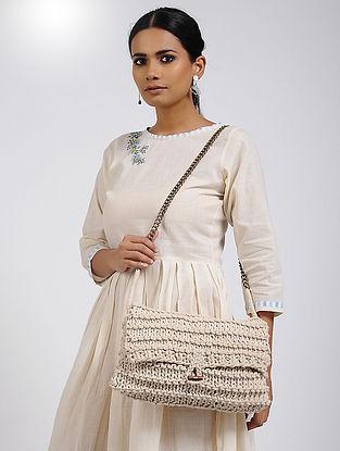 Off-White Cotton Macrame Sling Bag