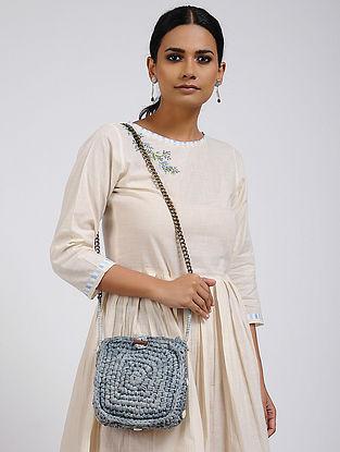 Melange Blue Cotton Macrame Sling Bag