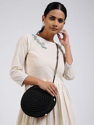 Black Cotton Macrame Sling Bag