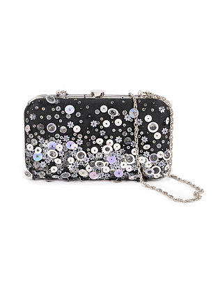 Black Silver Embellished Silk Clutch with Sequins