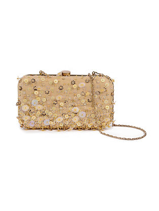 Gold Embellished Silk Clutch with Sequins