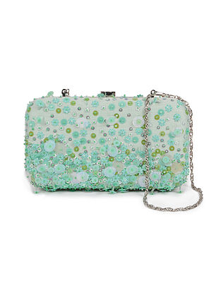 Powder Green Embellished Silk Clutch with Sequins