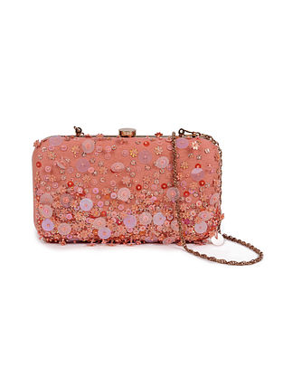 Peach Embellished Silk Clutch with Sequins