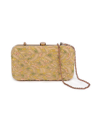 Gold Embellished Silk Clutch with Beads