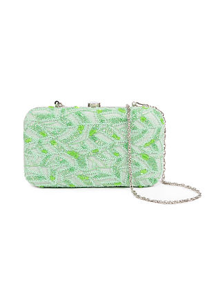 Mint Green Embellished Silk Clutch with Beads