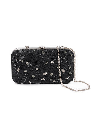 Black Embellished Silk Clutch with Beads