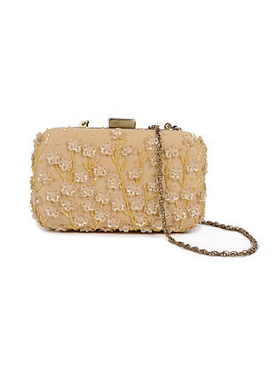 Beige Gold Embellished Silk Clutch with Sequins