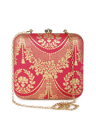 Pink Gold Handcrafted Foil Printed Silk Clutch
