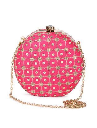 Pink Gold Sequin Embroidered Silk Clutch