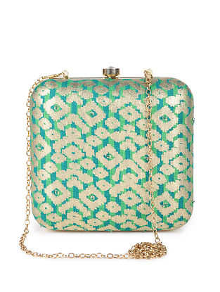 Green Gold Handcrafted Foil Printed Silk Clutch