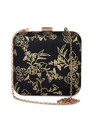 Black Gold Handcrafted Foil Printed Silk Clutch