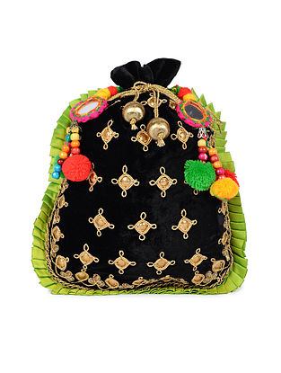Black Green Handcrafted Velvet Potli with Pom Poms