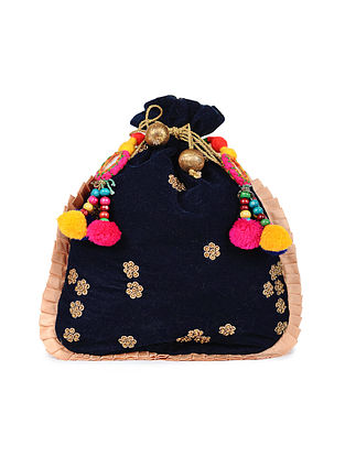 Blue Gold Handcrafted Velvet Potli with Pom Poms