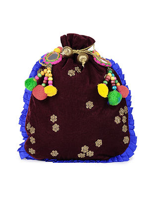 Maroon Blue Handcrafted Velvet Potli with Pom Poms