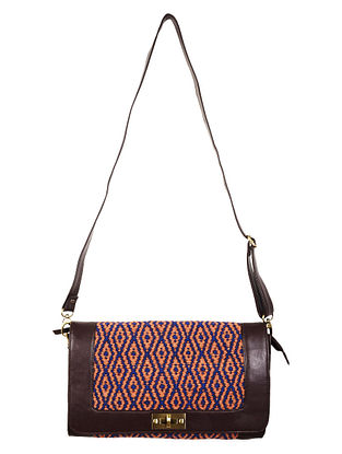 Orange-Navy-Brown Faux Leather Kilim Sling Bag