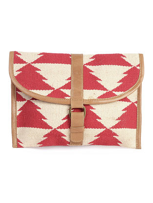Multi-Color-Brown Leather Kilim iPad Case