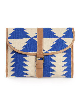 Blue-Ivory-Brown Leather Kilim iPad Case