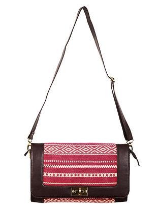 Fuschia-Ivory-Brown Faux Leather Kilim Sling Bag