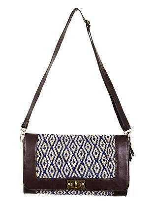 Beige-Navy-Brown Faux Leather Kilim Sling Bag