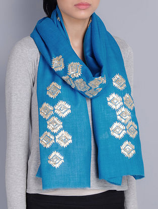 Turquoise Cashmere Wool Gota Patti Hand Embellished Stole