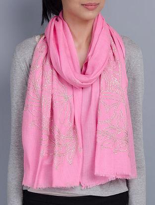 Pink Cashmere Wool Sequins Hand Embellished Stole