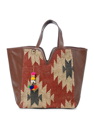 Red-Beige Wool Jute Kilim Tote