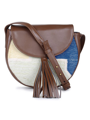 Brown-White Cotton Kilim Sling Bag