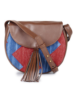 Brown-Blue Cotton Kilim Sling Bag