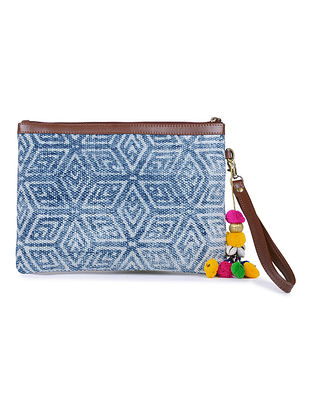 Blue-White Cotton Kilim Utility Pouch with Tassels