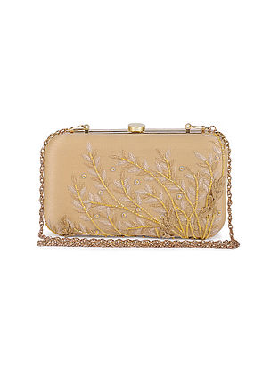 Beige Silk Embroidered Clutch with Sequins and Beads