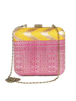 Yellow-Pink Handcrafted Brocade Silk Clutch