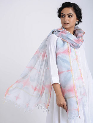Ivory-Grey Clamp-dyed Kota Doria Stole with Zari Border