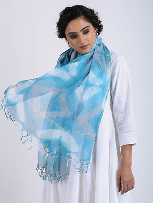 Blue-Ivory Clamp-dyed Kota Doria Stole with Zari Border