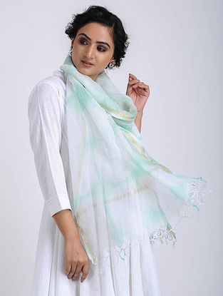 Ivory-Green Clamp-dyed Kota Doria Stole with Zari Border