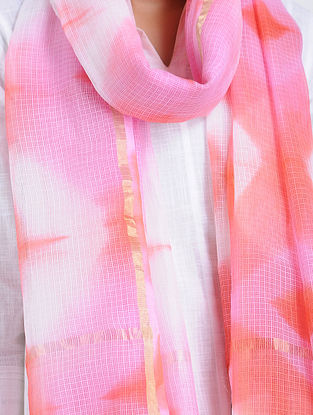 Ivory-Pink Clamp-dyed Kota Doria Stole with Zari Border