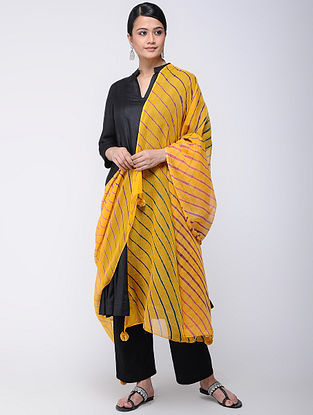 Yellow-Purple Leheriya Kota Doria Dupatta