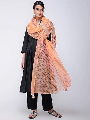 Peach-Yellow Leheriya Kota Doria Dupatta
