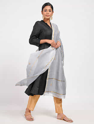 Grey Ombre-dyed Chanderi Dupatta with Sequins and Zari Work