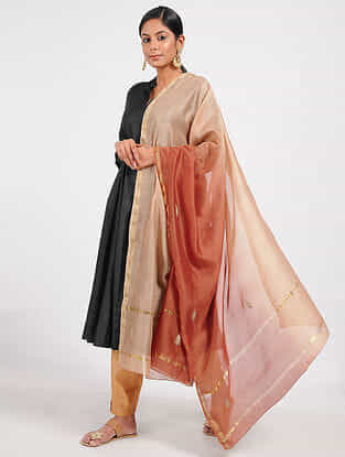 Peach-Red Ombre-dyed Chanderi Dupatta with Sequins and Zari Work
