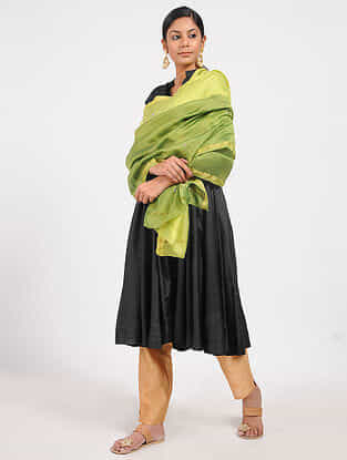 Green Ombre-dyed Chanderi Dupatta with Zardozi Work and Zari