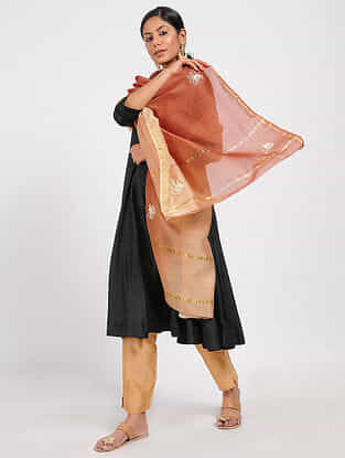 Red-Peach Hand-embroidered and Ombre-dyed Dupatta with Zari
