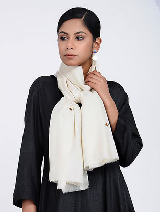 Ivory Hand-embroidered Cashmere/Wool Stole