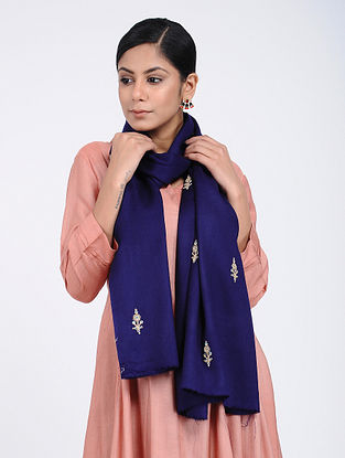 Blue Hand-embroidered Cashmere/Wool Stole