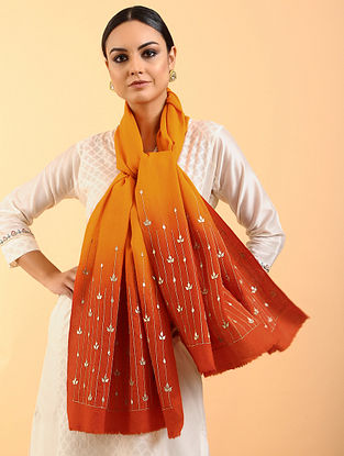 Orange Cashmere Stole with Gota Patti Work