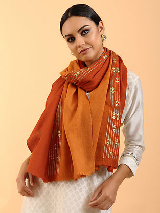 Orange-Brown Cashmere Stole with Aari Work
