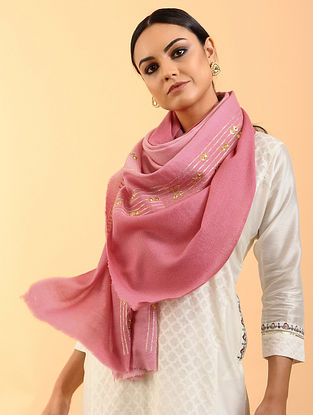 Pink Cashmere Stole with Aari Work