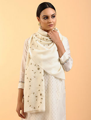 Off White Cashmere Stole with Zardosi and Aari Work