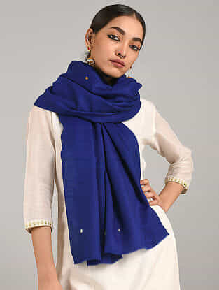 Blue Hand Embroidered Cashmere Wool Stole