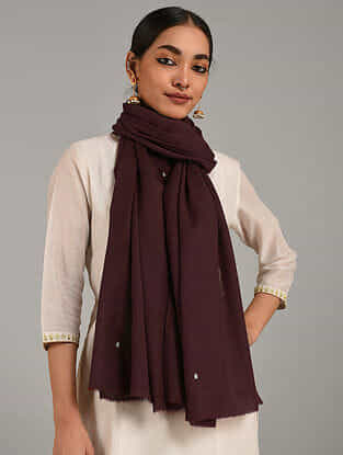 Maroon Hand Embroidered Cashmere Wool Stole